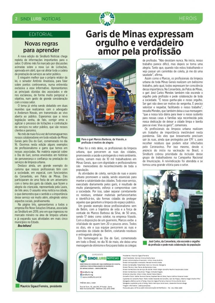 Gari da Conserbras é destaque no informativo do SINDILURB